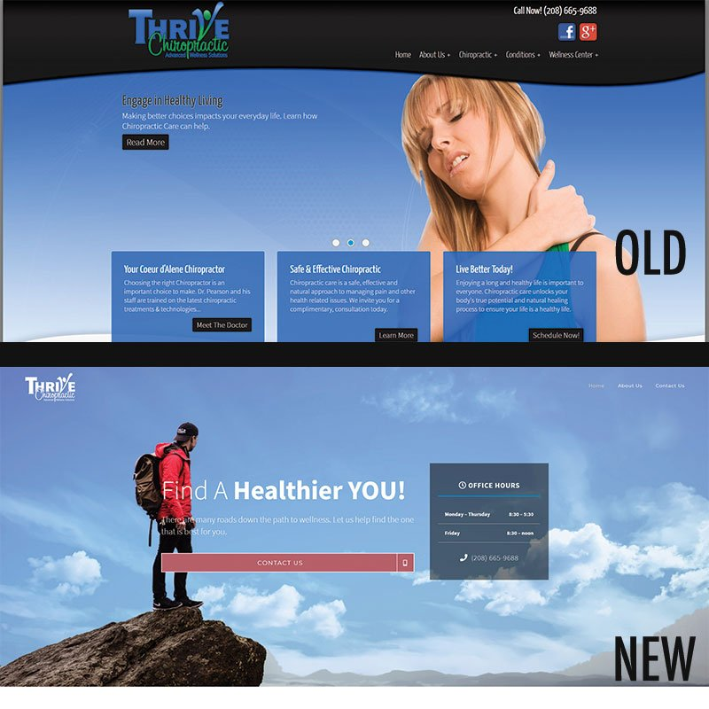 Thrive Chiropractic Old/New Front page